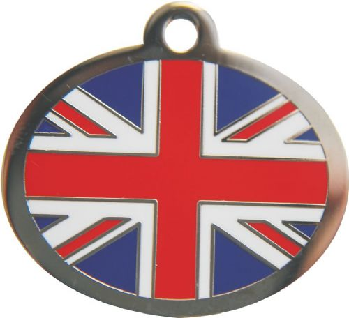 Polished Union Jack Engraved dog tag